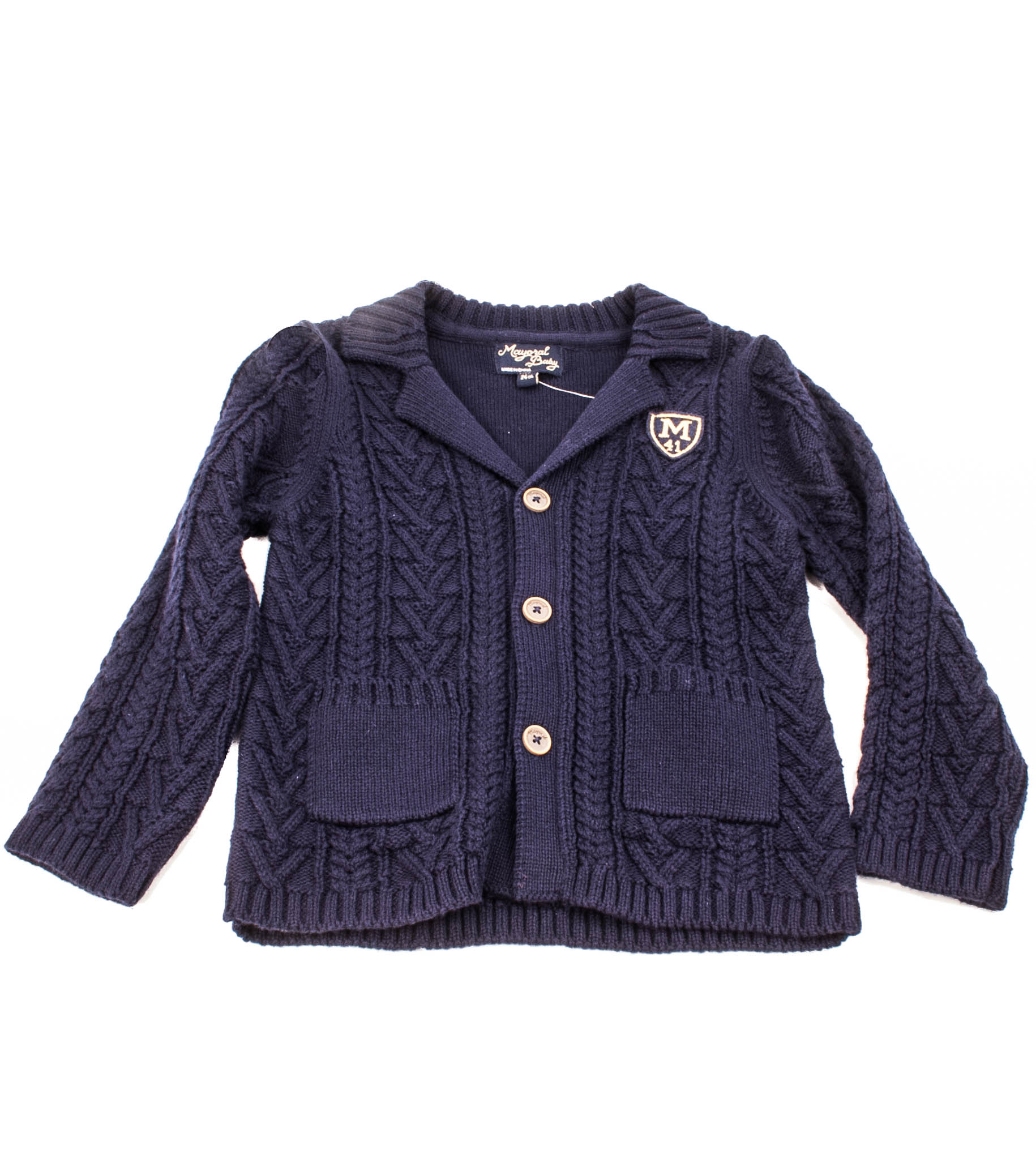 2453 Mayoral Navy Blue Knit Sweater Jacket with Gold Crest