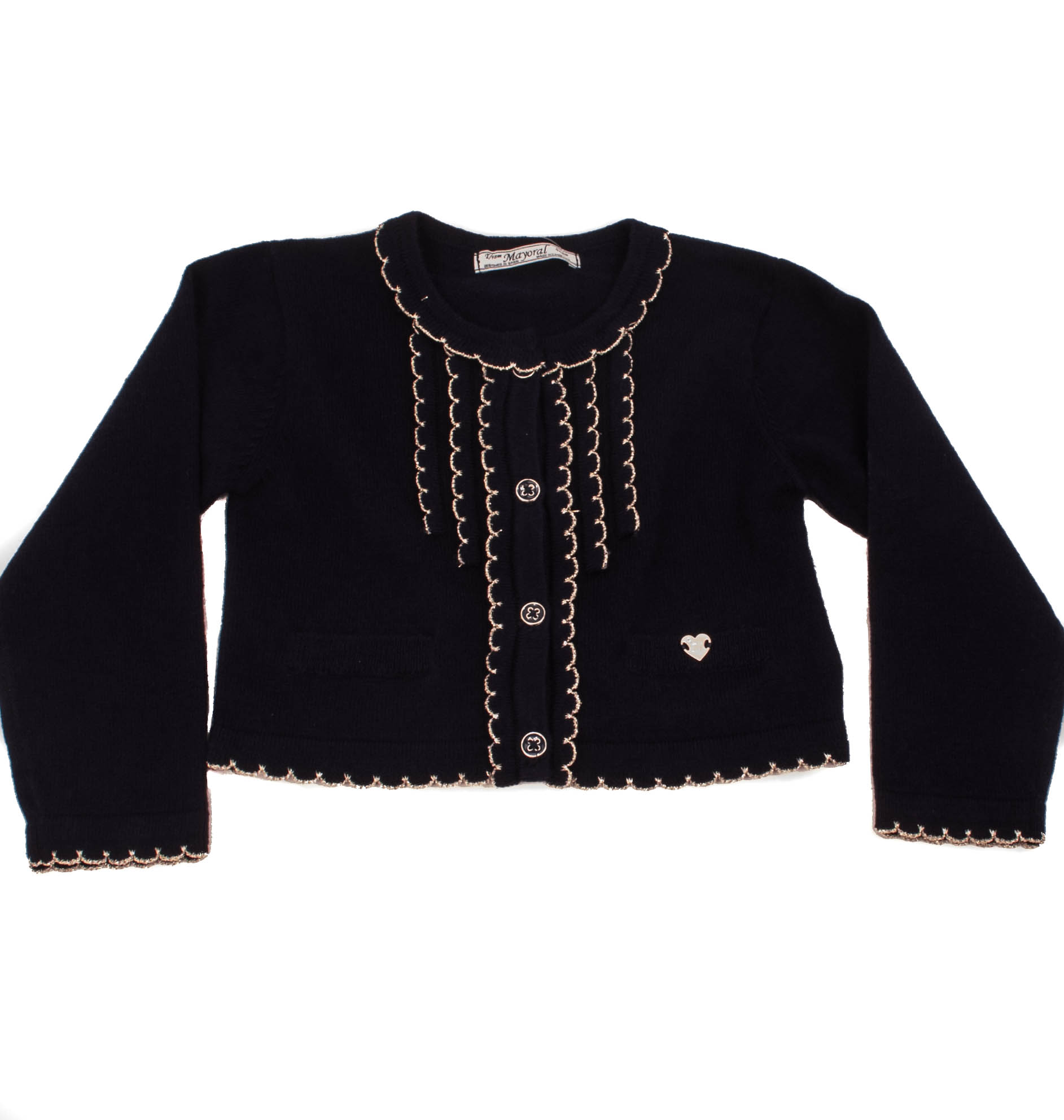 2326 Mayoral Navy Cardigan with Pockets and Gold Trim